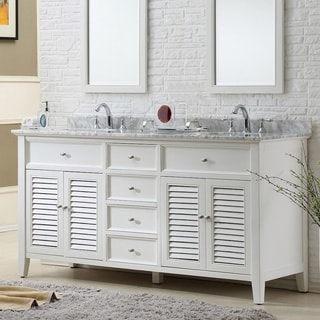 Direct Vanity 70-inch Pearl White Shutter Double Vanity Sink Cabinet