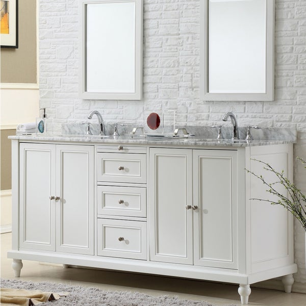 Direct Vanity Sink 70 Inch Classic Pearl White Double