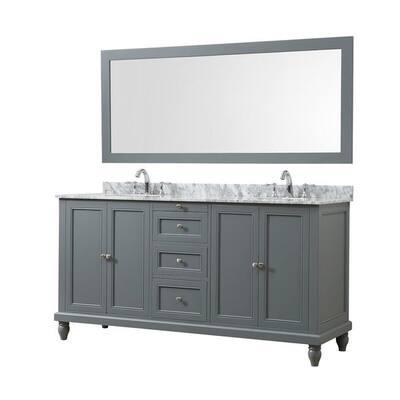 Size Double Vanities Grey 71 Inch