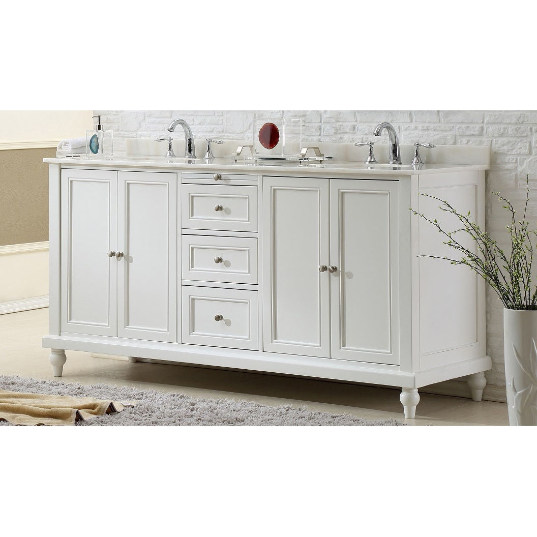 Vanity Sink 70 Inch Classic Pearl White Double Vanity Sink Cabinet (More