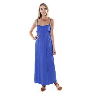 Hadari Women's Royal Blue Sleeveless Casual Maxi Dress