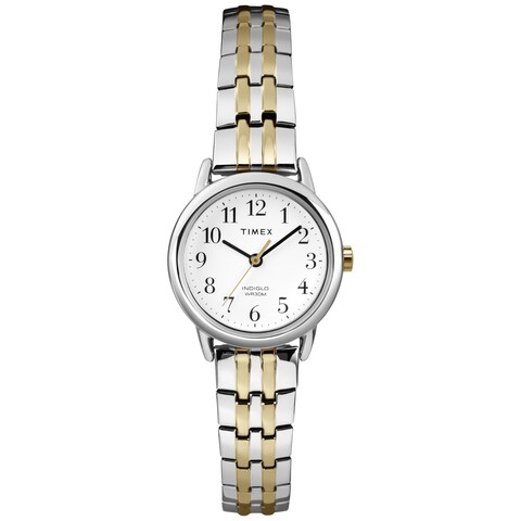 Timex Women's T2P298 Easy Reader 25mm Dress Two-Tone Stainless Steel Expansion Band Watch - silver