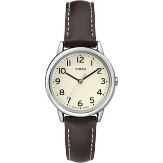 Timex TW2P595009J Women's Easy Reader Cream Dial Brown Leather Strap Watch