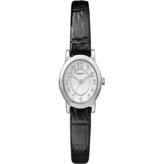 Timex TW2P604009J Women's Cavatina Silver-Tone Black Leather Strap Watch