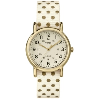 Timex TW2P654009J Women's Weekender Polkadot Reversible Cream Nylon Strap Watch