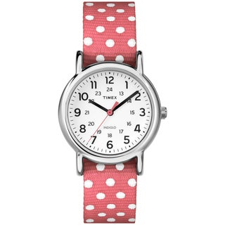 Timex TW2P656009J Women's Weekender Polkadot Reversible Coral Nylon Strap Watch