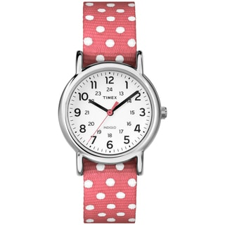 Timex TW2P656009J Women's Weekender Polkadot Reversible Coral Nylon Strap Watch (Option: White)