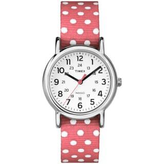 Timex TW2P656009J Women's Weekender Polkadot Reversible Coral Nylon Strap Watch|https://ak1.ostkcdn.com/images/products/9813166/P16978930.jpg?impolicy=medium