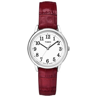 Timex TW2P687009J Women's Easy Reader Red Crocodile Leather Strap Watch