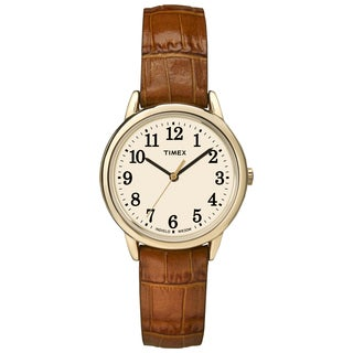 Timex TW2P688009J Women's Easy Reader Honey Brown Crocodile Leather Strap Watch