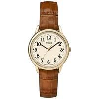 Timex TW2P688009J Women's Easy Reader Honey Brown Crocodile Leather Strap Watch