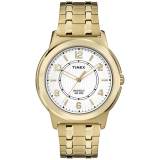 Timex Men's TW2P62000 White Dial Gold-Tone Stainless Steel Expansion Band Watch,