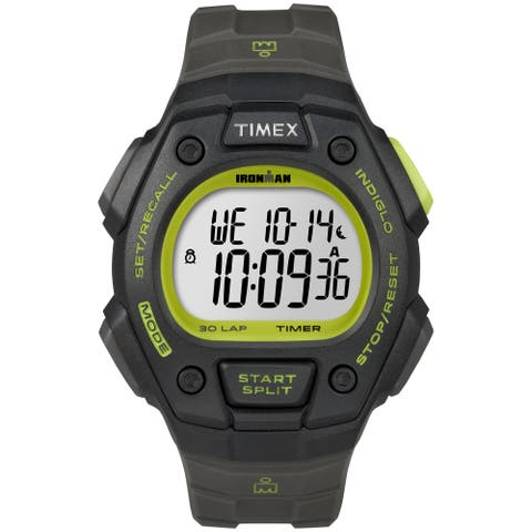 Timex Men's Ironman Classic 30 Full-Size Digital Sports Watch (Black/Green)