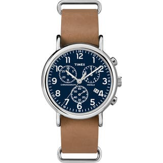 Timex TW2P623009J Unisex Weekender Forty Chrono Tan Leather Strap Watch|https://ak1.ostkcdn.com/images/products/9813206/P16978964.jpg?impolicy=medium