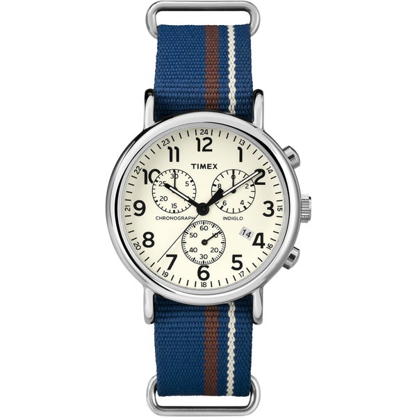 Timex Unisex Weekender Forty Chrono Multi-tone Striped Nylon Strap Watch. Opens flyout.