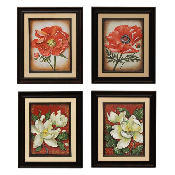 Hand-crafted Metal Floral Medley Wall Art Decor (Set of 4)