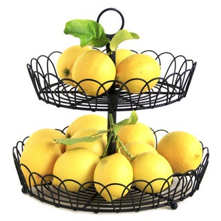 2-tier Black Metal Wire Standing Fruit Storage Basket