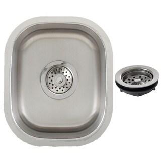 Ticor 12.75-inch Stainless Steel 16-gauge Undermount Single Bowl Kitchen/ Bar Sink