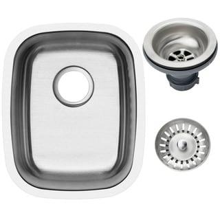 Ticor 15-inch Stainless Steel Undermount Single Bowl 16-gauge Kitchen/ Bar Sink