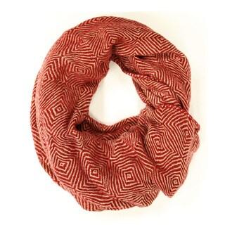 Le Nom Women's Diamond Pattern Knitted Infinity Scarf