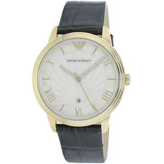 Emporio Armani Men's AR1718 'Retro' Green Leather Watch