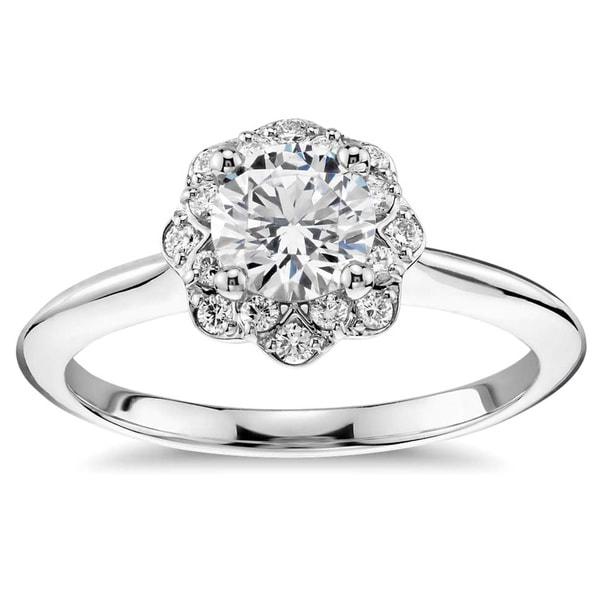 14k White Gold 3/5ct TDW Floral Halo Round Diamond Engagement Ring