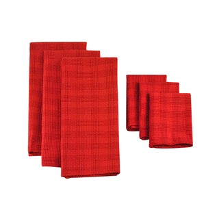 Design Imports Tango Red Plaid Heavyweight Dishtowel and Dishcloth (Set of 3)