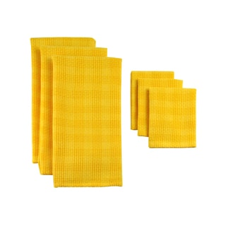 Design Imports Daffodil Plaid Heavyweight Dishtowel and Dishcloth (Set of 3)