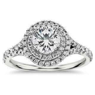 14k White Gold 1ct TDW Double Halo Round Diamond Engagement Ring