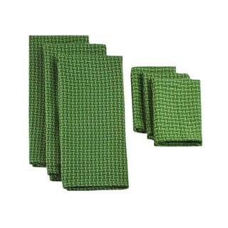 Design Imports Vineyard Green Heavyweight Dishtowel and Dishcloth (Set of 3)