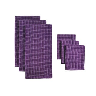 Design Imports Eggplant Heavyweight Dishtowel and Dishcloth (Set of 3)