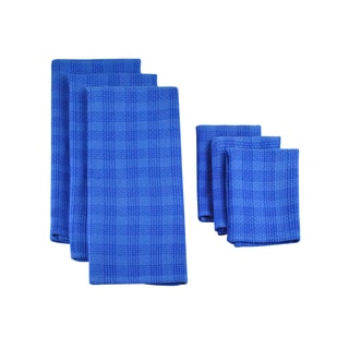 Design Imports Blueberry Plaid Heavyweight Dishtowel and Dishcloth (Set of 3)