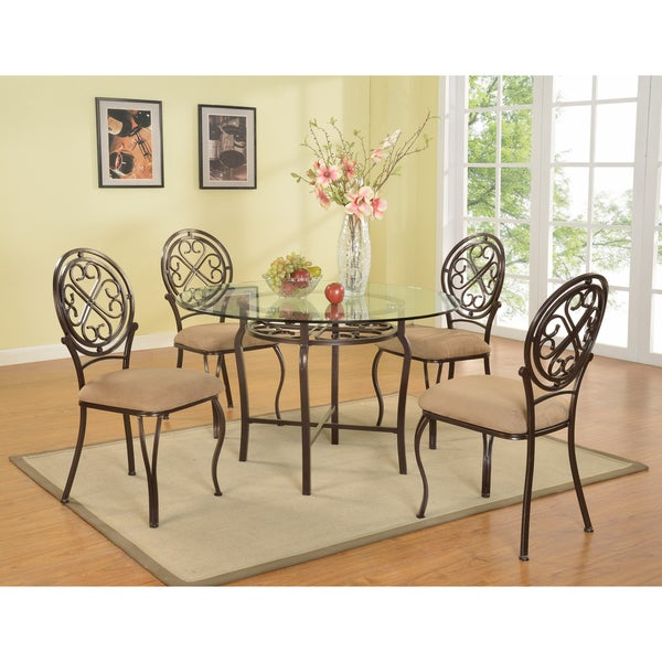 Brown Traditional 5 Piece Round Dining Set Cally: Shop Somette Lizzy Clear Glass/ Brown Traditional Dining