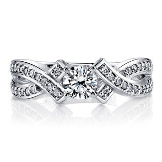 14k White Gold 3/4ct TDW Intertwined Round Diamond Engagement Ring