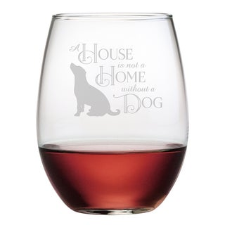 House Home Dog Stemless Wine Glass (Set of 4)