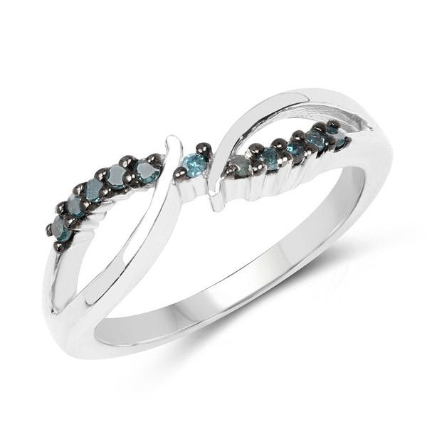 Malaika Sterling Silver 1/8ct TDW Blue Diamond Twist Ring