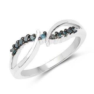 Malaika Sterling Silver 1/8ct TDW Blue Diamond Twist Ring
