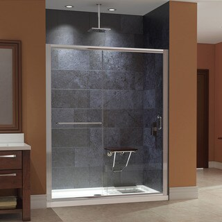 DreamLine Infinity-Z Clear Glass Shower Door with SlimLine Shower Base and Teak Seat