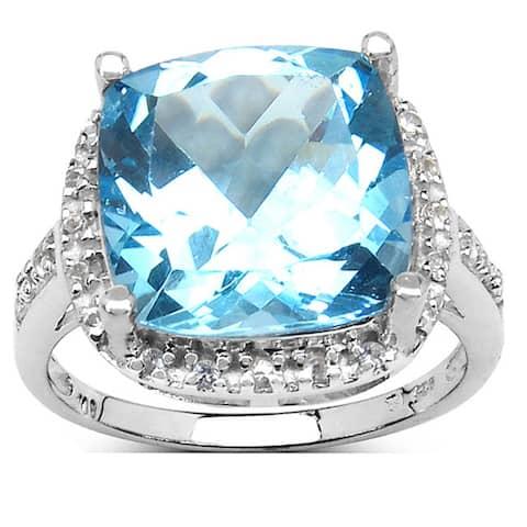 Malaika Sterling Silver 8 1/2ct TGW Blue Topaz and White Topaz Ring