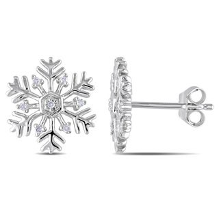 Miadora Sterling Silver Snowflake Diamond Stud Earrings
