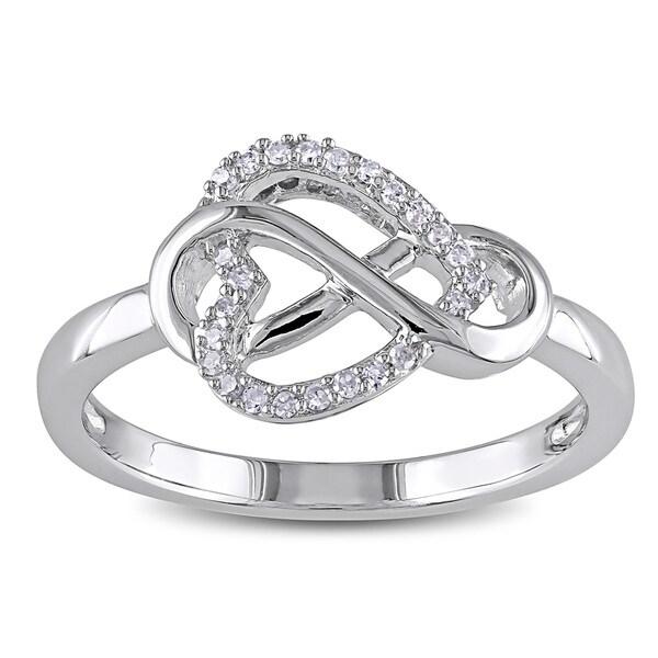 22f23d9e9ec Shop Miadora Sterling Silver 1/10ct TDW Diamond Heart Infinity Ring ...