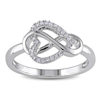 Miadora Sterling Silver 1/10ct TDW Diamond Heart Infinity Ring