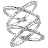 Miadora Sterling Silver 1/10ct TDW Criss-cross Diamond Ring