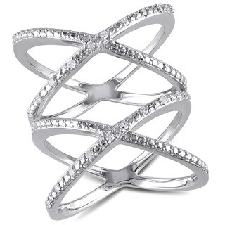 Miadora Sterling Silver 1/10ct TDW Criss-cross Diamond Ring