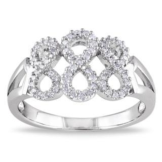Miadora Sterling Silver 1/4ct TDW Diamond Infinity Ring