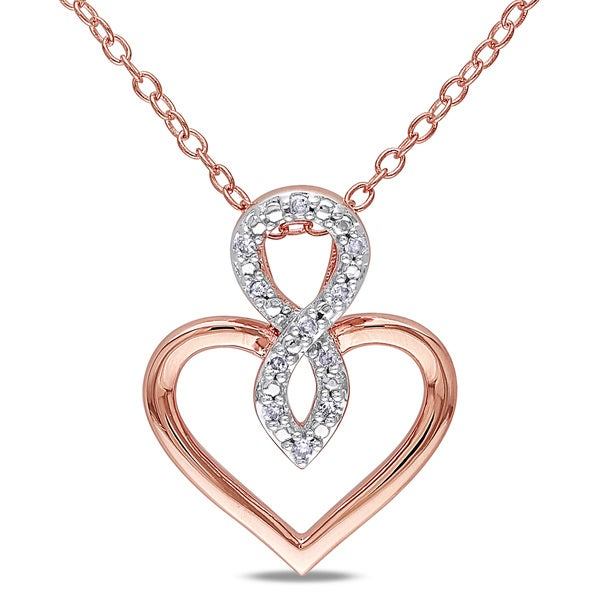 Miadora Rose Silver Diamond Accent Heart Infinity Necklace