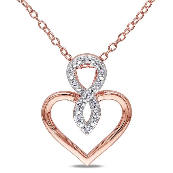 Miadora Rose Silver Diamond Accent Heart Infinity Necklace