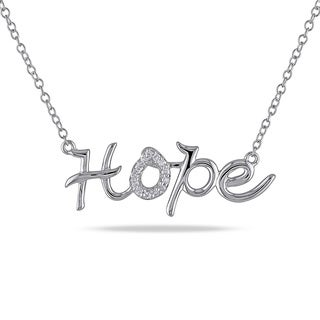 "Miadora Sterling Silver Diamond Accent ""Hope"" Word Necklace"