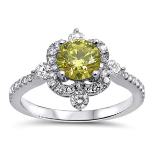 Noori 18k White Gold 1 1/10ct TDW Certified Canary Yellow Diamond Ring
