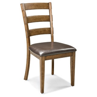 Santa Clara Ladder-back Bonded Leather Seat Dining Chairs (Set of 2)